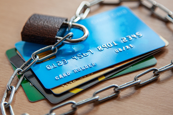 Credit cards with lock close up