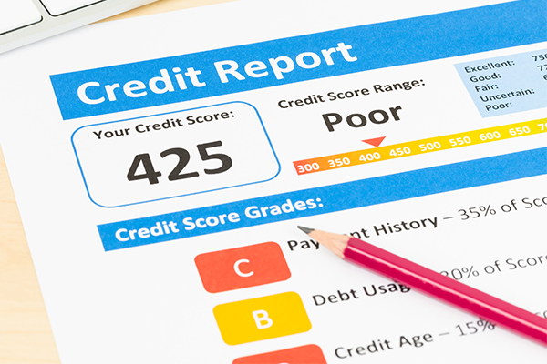 A credit report showing a poor credit score.