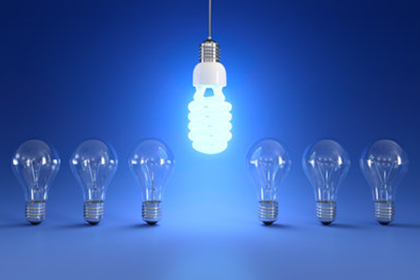 6 lightbulbs lined up with no light on and neon bulb hanging down between the 6 lightbulbs
