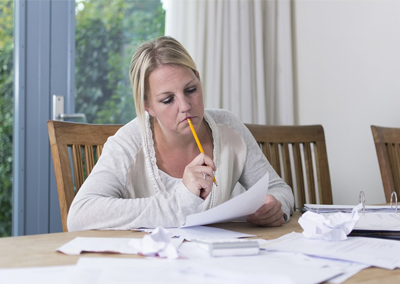 Woman Dealing with Debt Stress